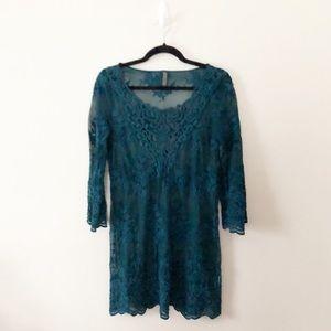 XCVI Teal Sheer Lace Tunic Dress